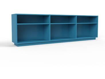 Bibliothèque - bleu, design, étagère pour livres, sophistiquée, ouverte et fonctionelle - 226 x 66 x 35 cm, personnalisable