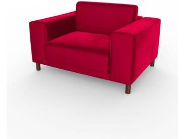 Fauteuil - Rose Magenta, modèle épuré, grand fauteuil en tissu avec pieds personnalisables - 124 x 75 x 98 cm, modulable
