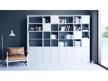 Bibliothèque - blanc, pièce de caractère, rangements raffiné, avec porte blanc - 306 x 233 x 35 cm, configurable