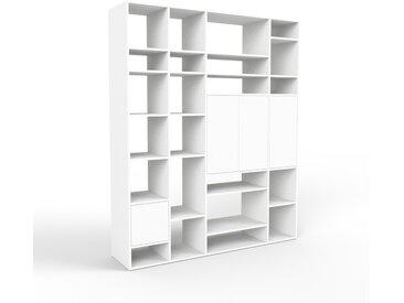 Bibliothèque - blanc, pièce de caractère, rangements raffiné, avec porte blanc - 193 x 233 x 47 cm, configurable