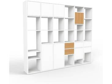 Bibliothèque murale - blanc, combinable, étagère, avec porte blanc et tiroir blanc - 233 x 195 x 35 cm