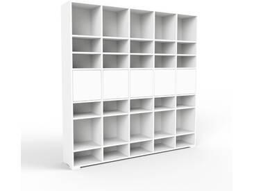Bibliothèque murale - blanc, modèle moderne, étagère, avec porte blanc - 195 x 196 x 35 cm, modulable