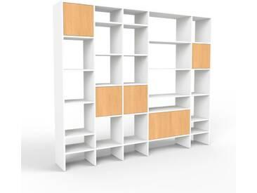 Bibliothèque - blanc, pièce de caractère, rangements raffiné, avec porte hêtre - 231 x 195 x 35 cm, configurable