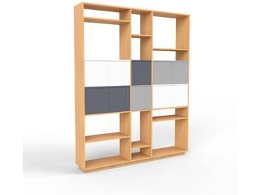 Bibliothèque murale - hêtre, modèle moderne, étagère, avec porte blanc - 190 x 239 x 35 cm, modulable
