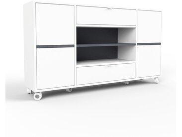 Caisson à roulette - blanc, moderne, avec porte blanc et tiroir blanc - 154 x 80 x 35 cm