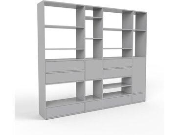 Bibliothèque murale - gris, combinable, étagère, avec porte gris et tiroir gris - 229 x 195 x 35 cm
