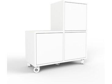 Caisson à roulette - blanc, pièce modulable, rangement mobile, avec porte blanc - 79 x 80 x 35 cm