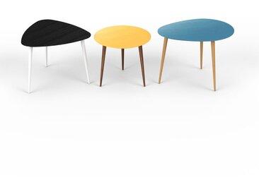 Tables basses gigognes - bleu, triangulaire/ronde/ovale, design scandinave, set de 3 tables basses - 59/50/67 x 47/44/50 x 61/50/50 cm