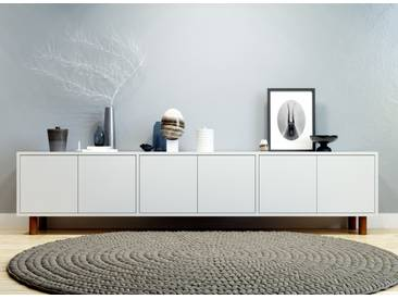 Buffet bas - blanc, pièce de caractère, rangements bas de luxe, avec porte blanc - 226 x 53 x 35 cm, personnalisable