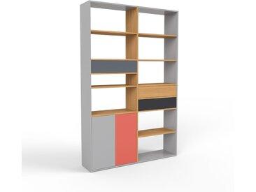 Bibliothèque - gris, design contemporain, avec porte gris et tiroir anthracite - 152 x 233 x 35 cm