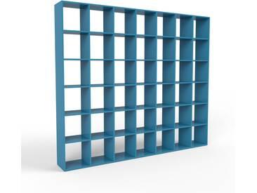 Bibliothèque - bleu, design, étagère pour livres, sophistiquée, ouverte et fonctionelle - 272 x 233 x 35 cm, personnalisable