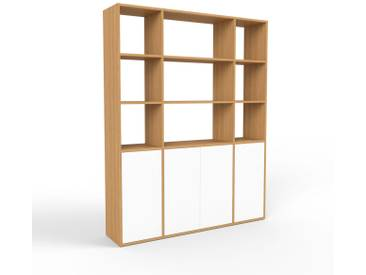 Bibliothèque - chêne, pièce de caractère, rangements raffiné, avec porte blanc - 154 x 195 x 35 cm, configurable