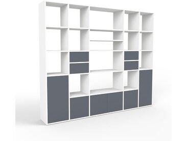 Système d'étagère - blanc, design, rangements, avec porte anthracite et tiroir anthracite - 231 x 195 x 35 cm