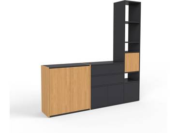 Bibliothèque murale - chêne, combinable, étagère, avec porte chêne et tiroir noir - 190 x 195 x 35 cm