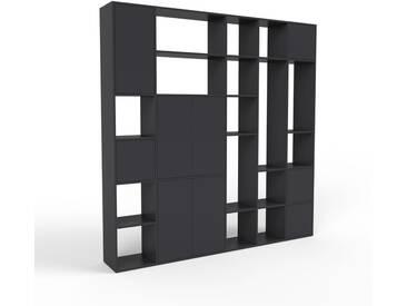 Bibliothèque murale - noir, modèle moderne, étagère, avec porte noir - 231 x 233 x 35 cm, modulable