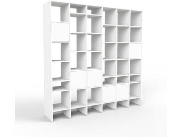 Système d'étagère - blanc, modulable, rangements, avec porte blanc - 233 x 233 x 47 cm
