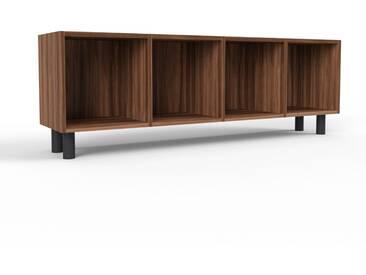 Range CD en noyer, bois certifié, aspect intemporel, meuble pour vinyles, DVD de qualité - 156 x 53 x 35 cm, modulable