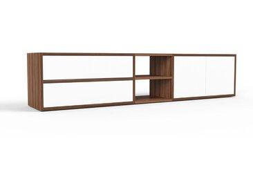 Meuble TV - noyer, design, meuble hifi, multimedia, avec porte blanc et tiroir blanc - 190 x 41 x 35 cm