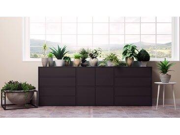 Commode - noir, moderne, raffinée, avec porte noir et tiroir noir - 226 x 80 x 35 cm