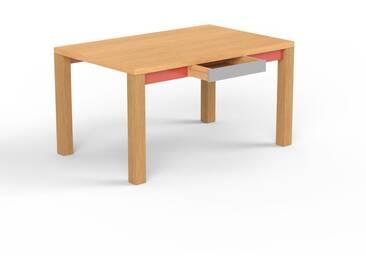 Bureau - hêtre, design, table de travail raffinée, avec tiroir gris et cadre rouge - 140 x 76 x 90 cm, modulable