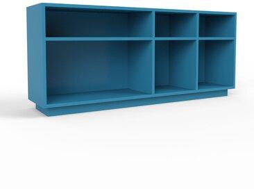 Bibliothèque - bleu, design, étagère pour livres, sophistiquée, ouverte et fonctionelle - 154 x 66 x 35 cm, personnalisable