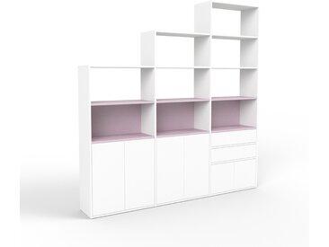 Bibliothèque - blanc, design contemporain, avec porte blanc et tiroir blanc - 226 x 233 x 35 cm