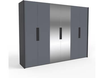 Dressing - anthracite/miroir, design, armoire penderie pour chambre ou entrée, à portes battantes - 304 x 233 x 62 cm, modulable