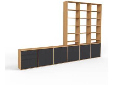 Bibliothèque murale - chêne, combinable, étagère, avec porte noir et tiroir noir - 450 x 291 x 35 cm