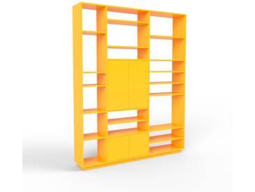 Bibliothèque murale - jaune, modèle moderne, étagère, avec porte jaune - 190 x 239 x 35 cm, modulable