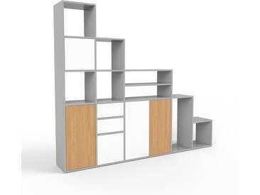 Système détagère - gris, design, rangements, avec porte blanc et tiroir blanc - 231 x 195 x 35 cm