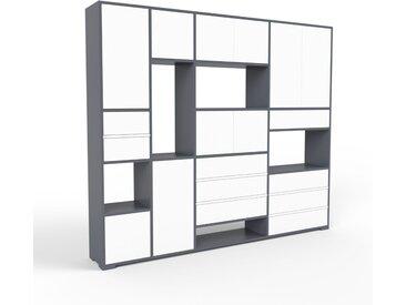 Meuble de rangements - anthracite, design, pour documents, avec porte blanc et tiroir blanc - 229 x 196 x 35 cm