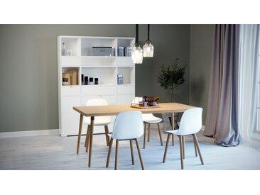 Table à manger - hêtre, design scandinave, pour salle à manger ou cuisine nordique - 220 x 75 x 90 cm, personnalisable