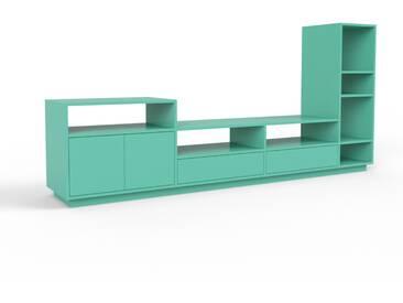 Bibliothèque murale - turquoise menthe, combinable, étagère, avec porte turquoise menthe et tiroir turquoise menthe - 265 x 124 x 47 cm
