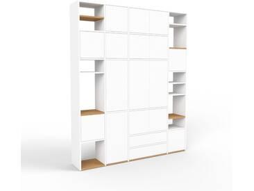 Bibliothèque murale - blanc, combinable, étagère, avec porte blanc et tiroir blanc - 193 x 233 x 35 cm