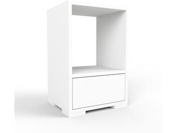 Table de chevet - blanc, contemporaine, table de nuit, avec tiroir blanc - 41 x 62 x 35 cm, modulable