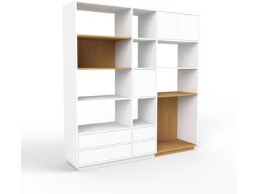 Bibliothèque murale - blanc, combinable, étagère, avec porte blanc et tiroir blanc - 190 x 200 x 47 cm