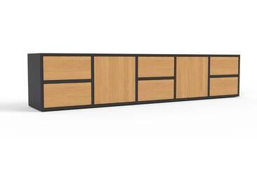 Buffet bas - noir, design contemporain, avec porte chêne et tiroir chêne - 195 x 41 x 35 cm