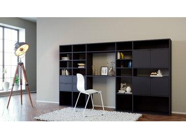 Bibliothèque murale - noir, combinable, étagère, avec porte noir et tiroir noir - 267 x 157 x 35 cm
