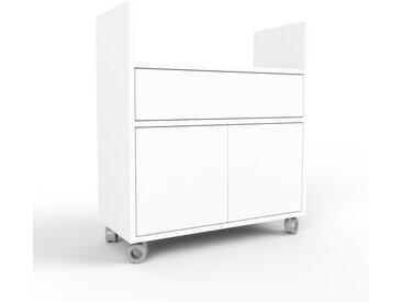 Caisson à roulette - blanc, moderne, avec porte blanc et tiroir blanc - 77 x 87 x 35 cm