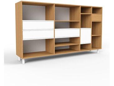 Système d'étagère - chêne, design, rangements, avec porte blanc et tiroir blanc - 229 x 130 x 47 cm