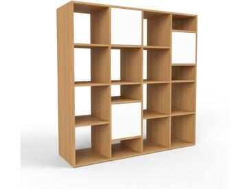 Bibliothèque - chêne, pièce de caractère, rangements raffiné, avec porte blanc - 156 x 157 x 47 cm, configurable