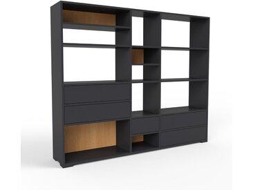 Bibliothèque - noir, modèle tendance, rangements pour livres, avec tiroir noir - 190 x 158 x 35 cm, modulable