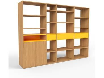 Étagère - chêne, design, avec porte chêne et tiroir jaune - 265 x 195 x 47 cm, modulable
