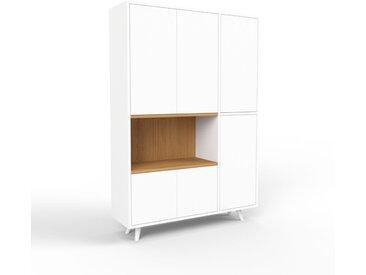 Bibliothèque - blanc, pièce de caractère, rangements raffiné, avec porte blanc - 116 x 168 x 35 cm, configurable