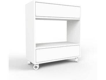Caisson à roulette - blanc, pièce modulable, rangement mobile, avec tiroir blanc - 77 x 87 x 35 cm