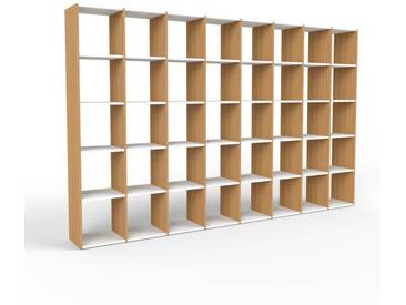 Bibliothèque en chêne, bois massif, aspect intemporel et naturel, étagère pour livres de qualité, solide et robuste - 310 x 195 x 35 cm