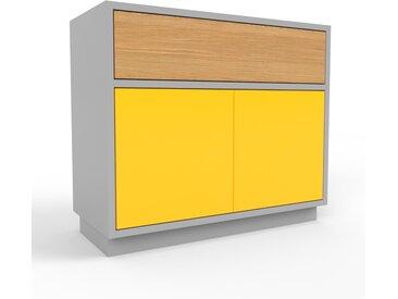 Table de chevet - gris, moderne, table de nuit, avec porte jaunes et tiroir chêne - 77 x 66 x 35 cm