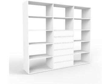 Système d'étagère - blanc, modulable, rangements, avec tiroir blanc - 226 x 195 x 47 cm