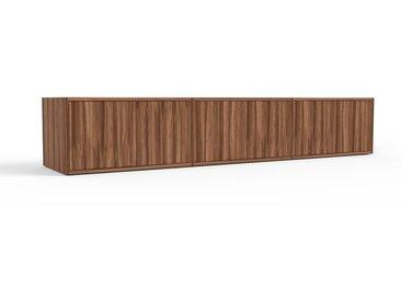 Meuble TV en noyer, bois massif, aspect naturel, meuble hifi et multimedia de qualité - 226 x 41 x 47 cm, modulable