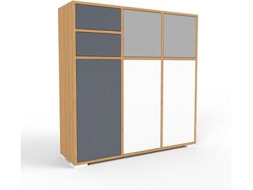 Commode - chêne, moderne, raffinée, avec porte blanc et tiroir anthracite - 118 x 120 x 35 cm